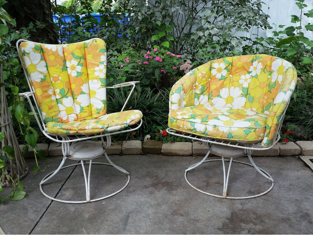 MID CENTURY MODERN HOMECREST PATIO CHAIRS SET WIRE SWIVEL VINTAGE