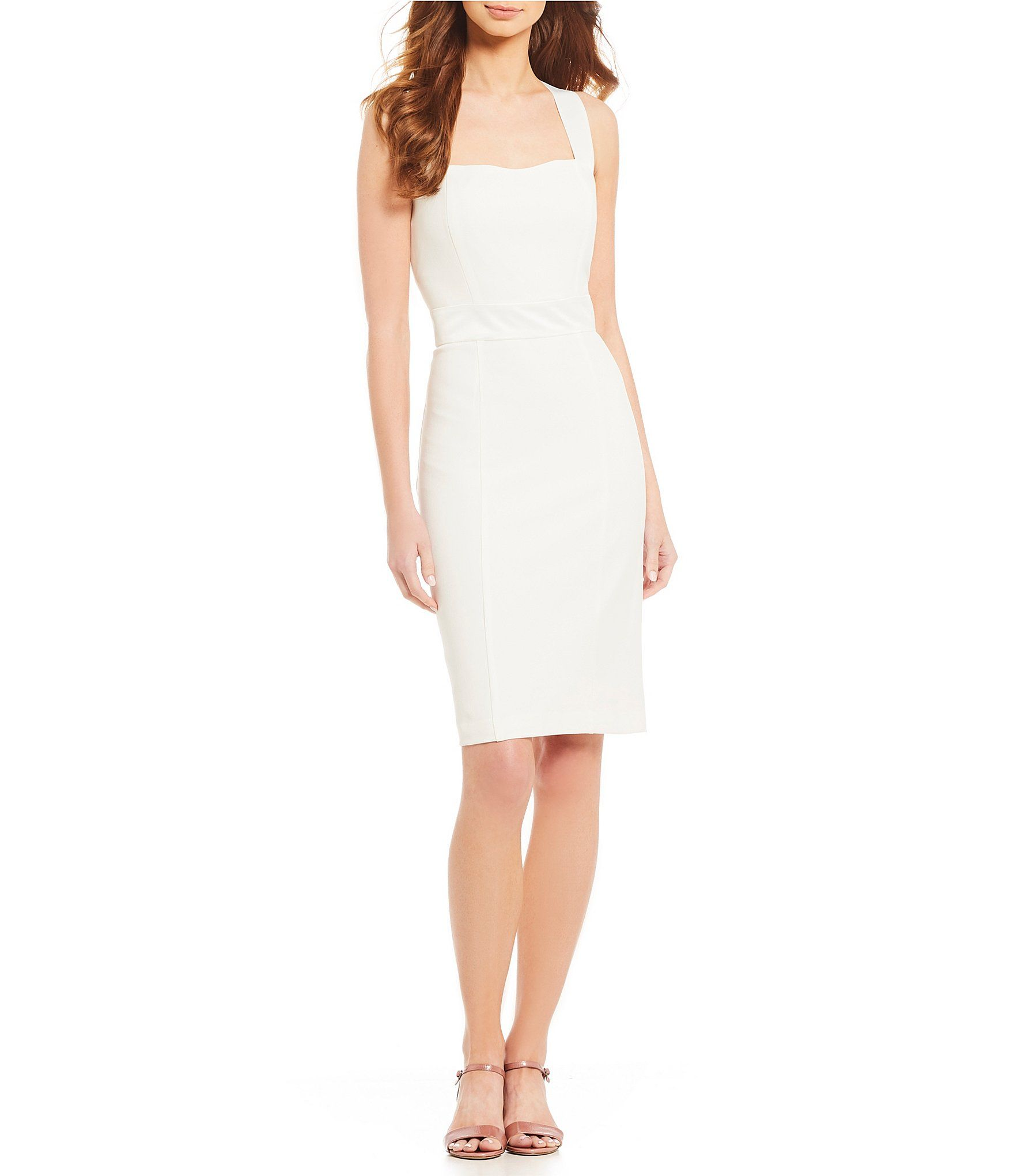 9cbdbd52f26 Shop for KARL LAGERFELD PARIS Square Neck Satin Trim Sheath Dress at ...