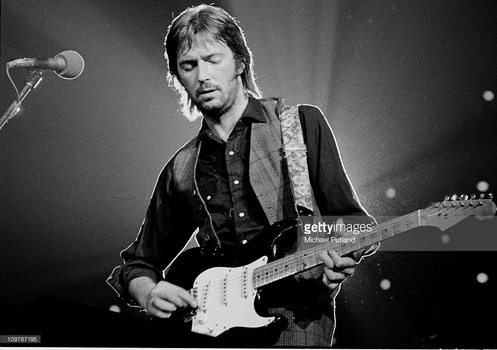 British guitarist Eric Clapton performing on stage at the Nassau Coliseum in Long Island, New York on June 30, 1974.