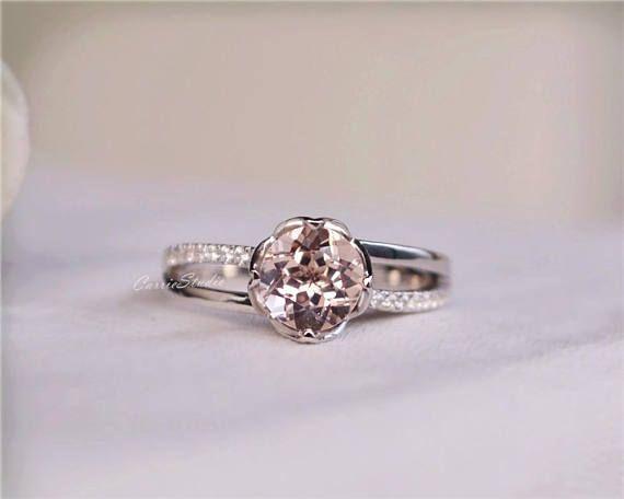 Flower Pink Morganite Ring Morganite Engagement Ring Wedding Ring