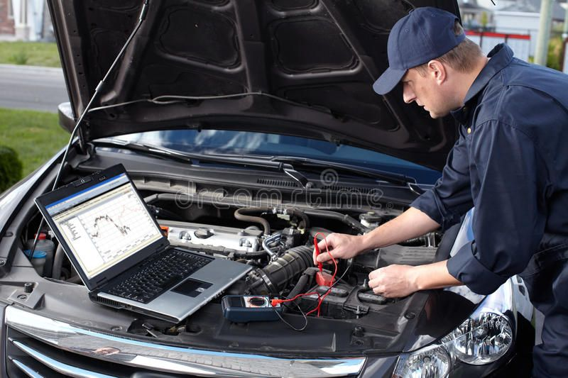 Car Mechanic Working In Auto Repair Service Royalty Free Stock Photos Car Mechanic Car Repair Service Car