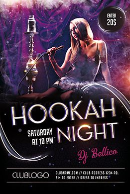 hookah night free psd flyer template dj flyer flyer template
