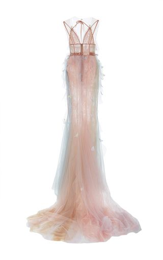 This **Marchesa** gown features delicate satin rainbow detailing and a fit and flare styled silhouette.