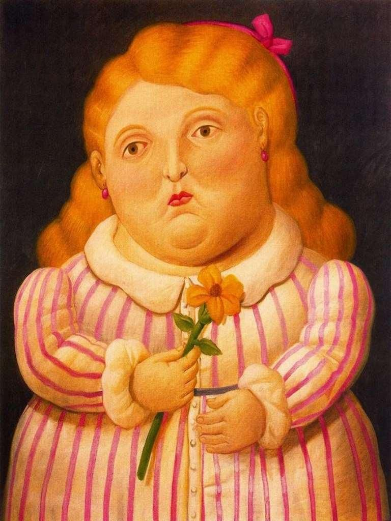 Fernando Botero Nina Con Flor Painting In 2019 Artist Fernando