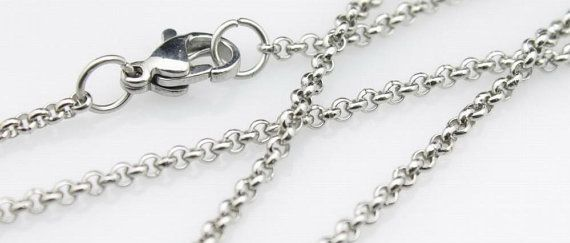 20pcs 18Inch 2mm stainless steel necklace round rolo link chains women
