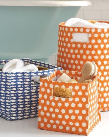 Lovely Canvas Storage Bins, Great For Beach House Storage
