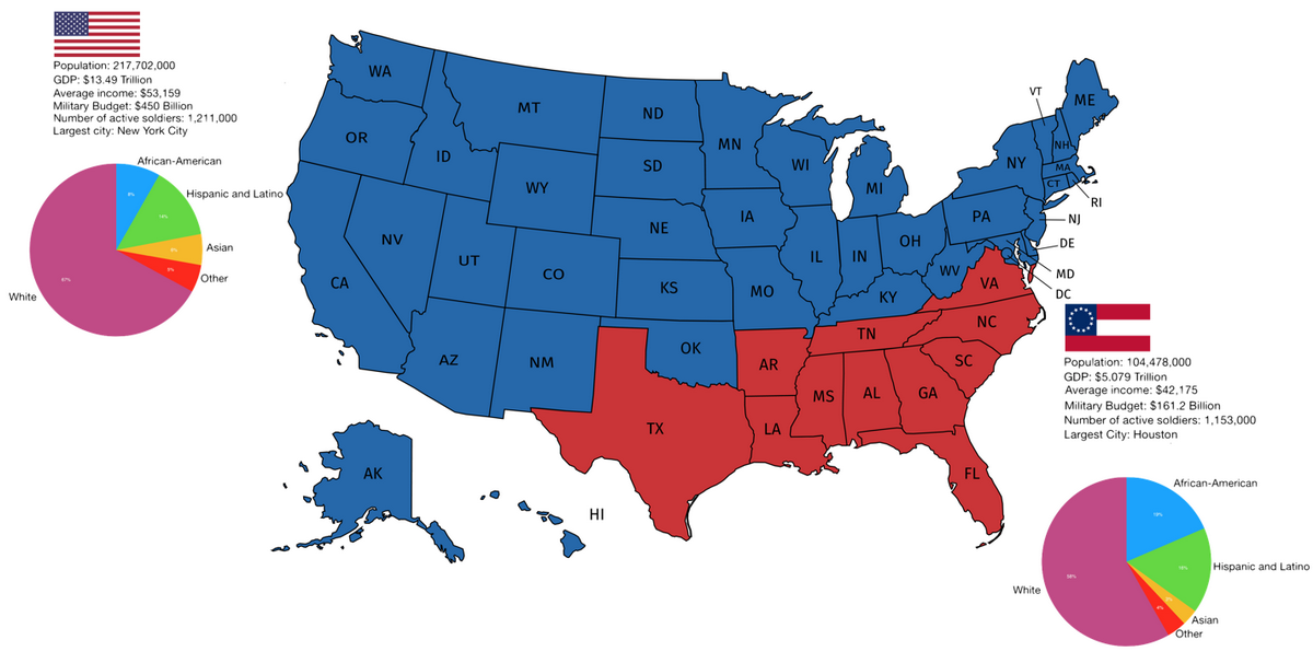 Confederate States Map Former Confederate States of America vs the rest of the U.S. today