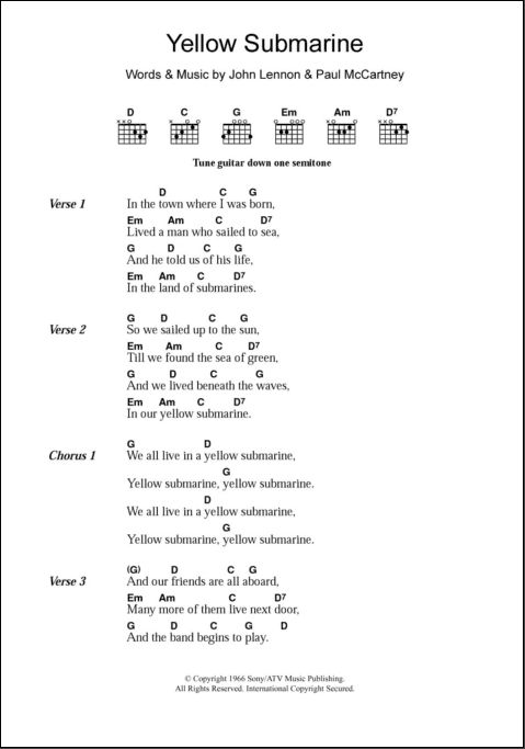 Yellow Submarine Guitar Chords Google Search Yellow Submarine Lyrics Guitar Chords And Lyrics Lyrics And Chords