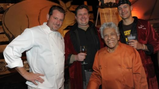 Co-chair Donald Link with Stephen Stryjewskim, Leah Chase and Ryan Prewitt at 2012 Boudin and Beer
