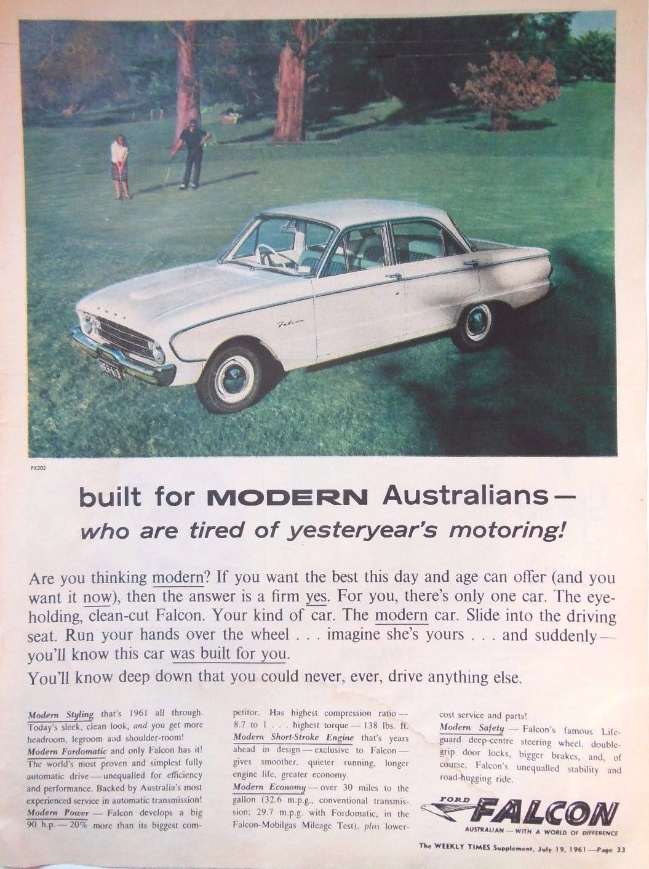 Ford falcon car ad retro automobilia 1961 original vintage australian advert aud 20 00 picclick