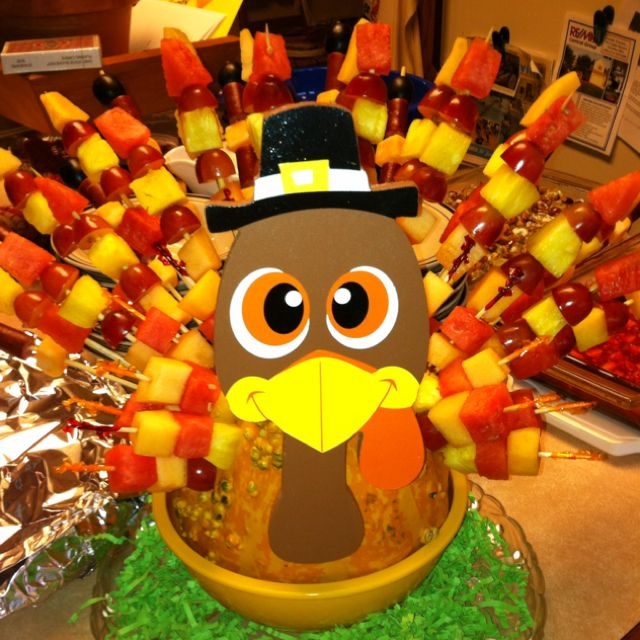 19 Edible Turkey Crafts Thanksgiving Crafts: Gourd Turkey With Fruit And Cheese Kabobs For Feathers