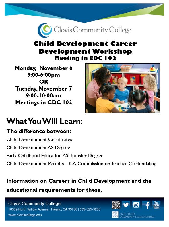 Attend The Child Development Career Development Workshop On