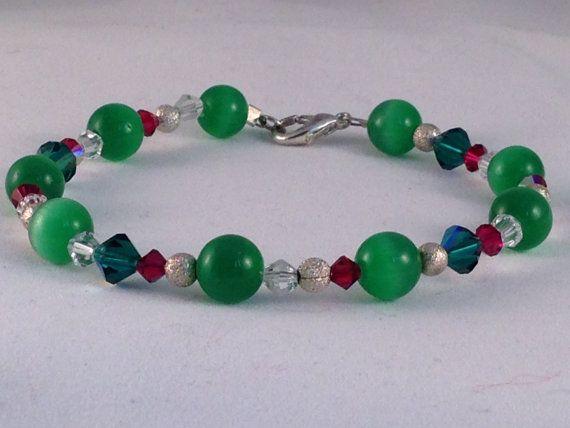 Green cats eye & swarovski crystal handmade by JulzBoutiqueUK
