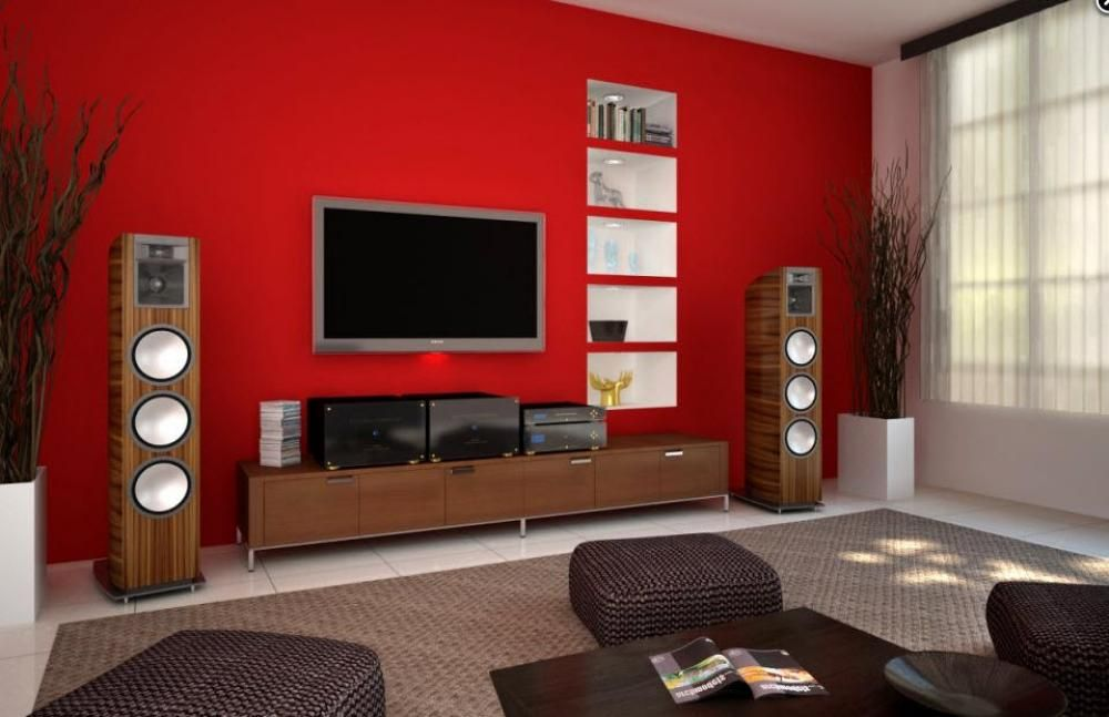 Red living room paint color with tv nice room with for Living room decorating ideas red and brown