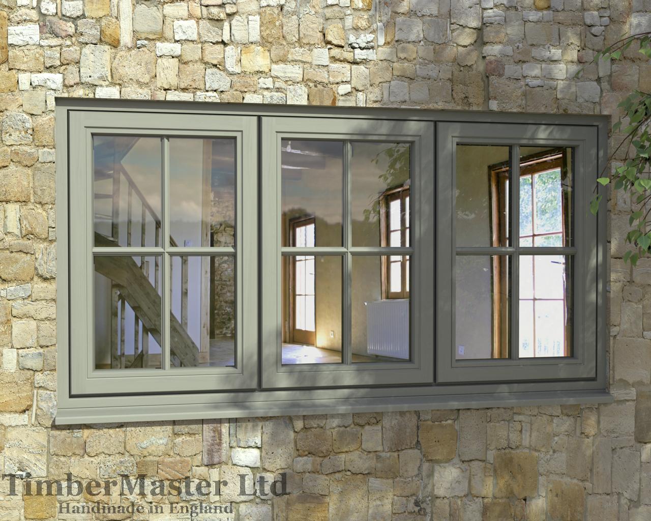 French casement windows - Flush Triple Casement Painted Window Georgian Bar French Grey