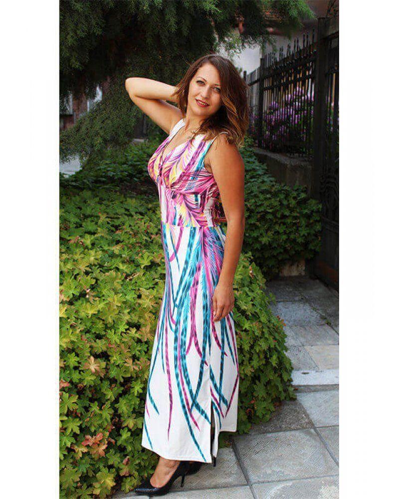 6acfaac4401 Евтина дълга рокля от трико със щампа за лятото българска купете от онлайн  магазин за евтини и изгодни летни рокли Julia