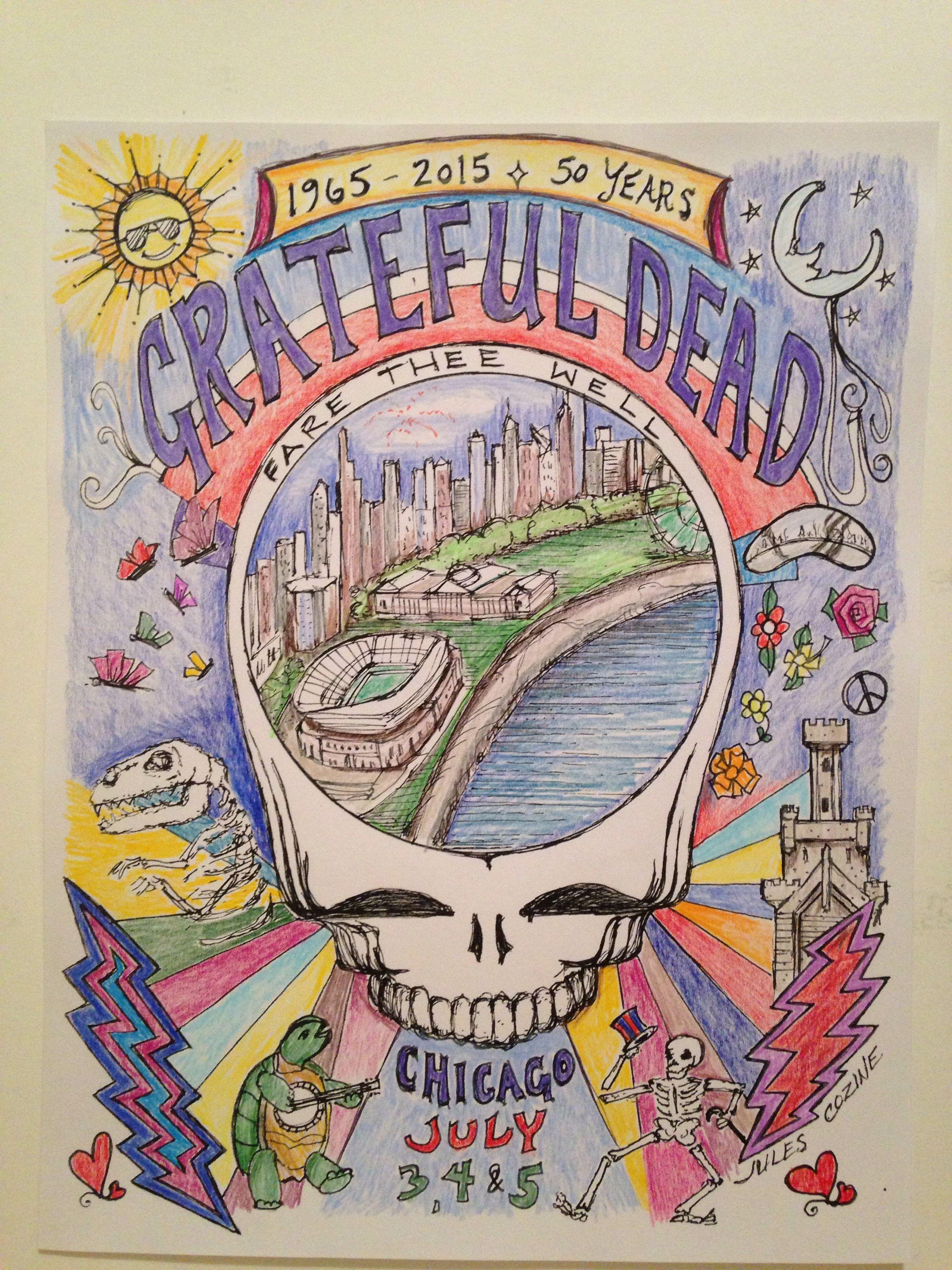 Grateful Dead music poster by Jules Cozine