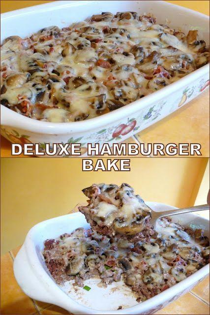 SPLENDID LOWCARBING HAMBURGER MUSHROOM BAKE  SUPER DELUXE  Main Dish