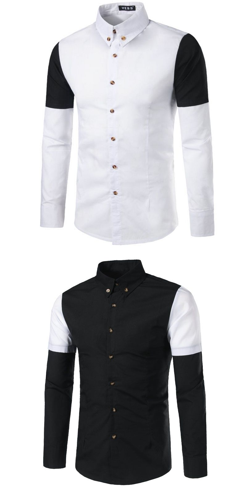 Brand 2017 Fashion Male Shirt Long Sleeves Tops Personality Splicing