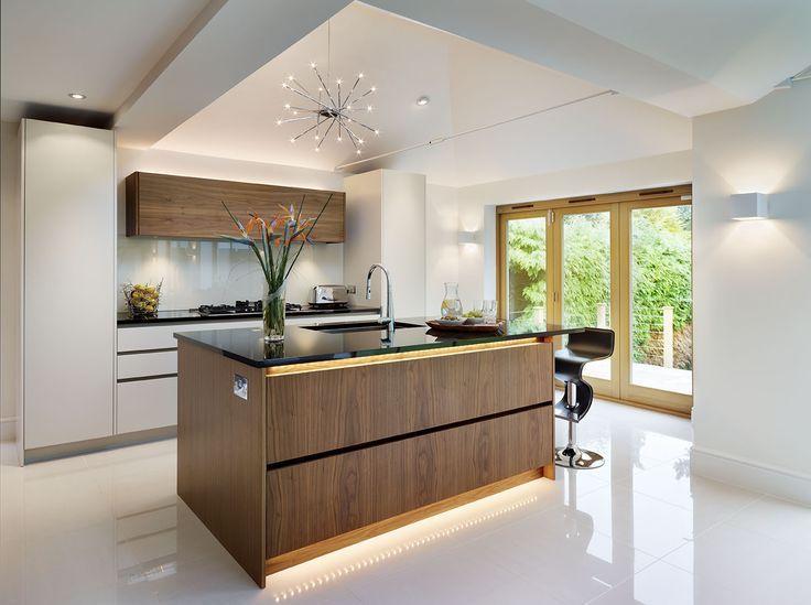 Modern Kitchen With Led Strip Lights Kitchen Lighting Design Bespoke Kitchen Island Contemporary Kitchen