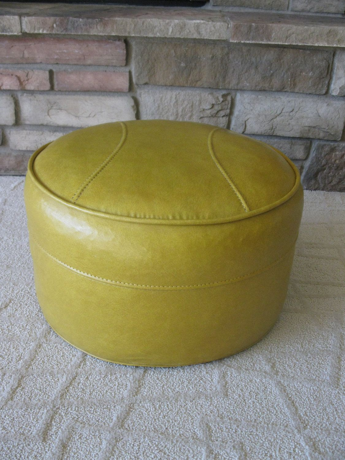 Butterscotch Yellow Ottoman Footstool Hassock Faux Leather Naugahyde Round Hassock Harvest Gold Mid Cent Storage Ottoman Yellow Storage Yellow Ottoman