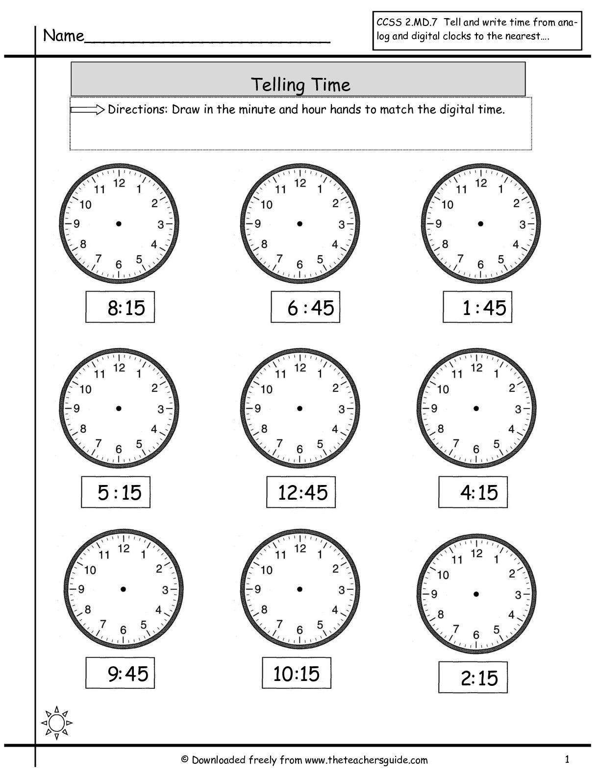 telling time to nearest quarter hour | Guided Math | Pinterest