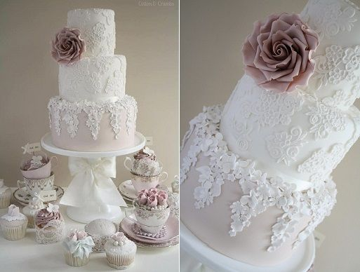 Trailing Sugar Flowers Wedding Cake By Cotton And