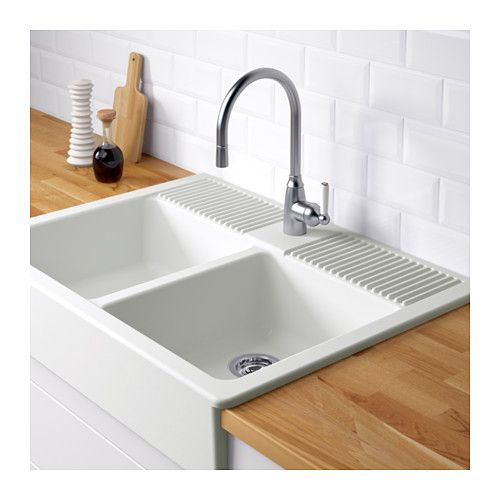 DOMSJ Double bowl apron front sink IKEA 25-year Limited ...