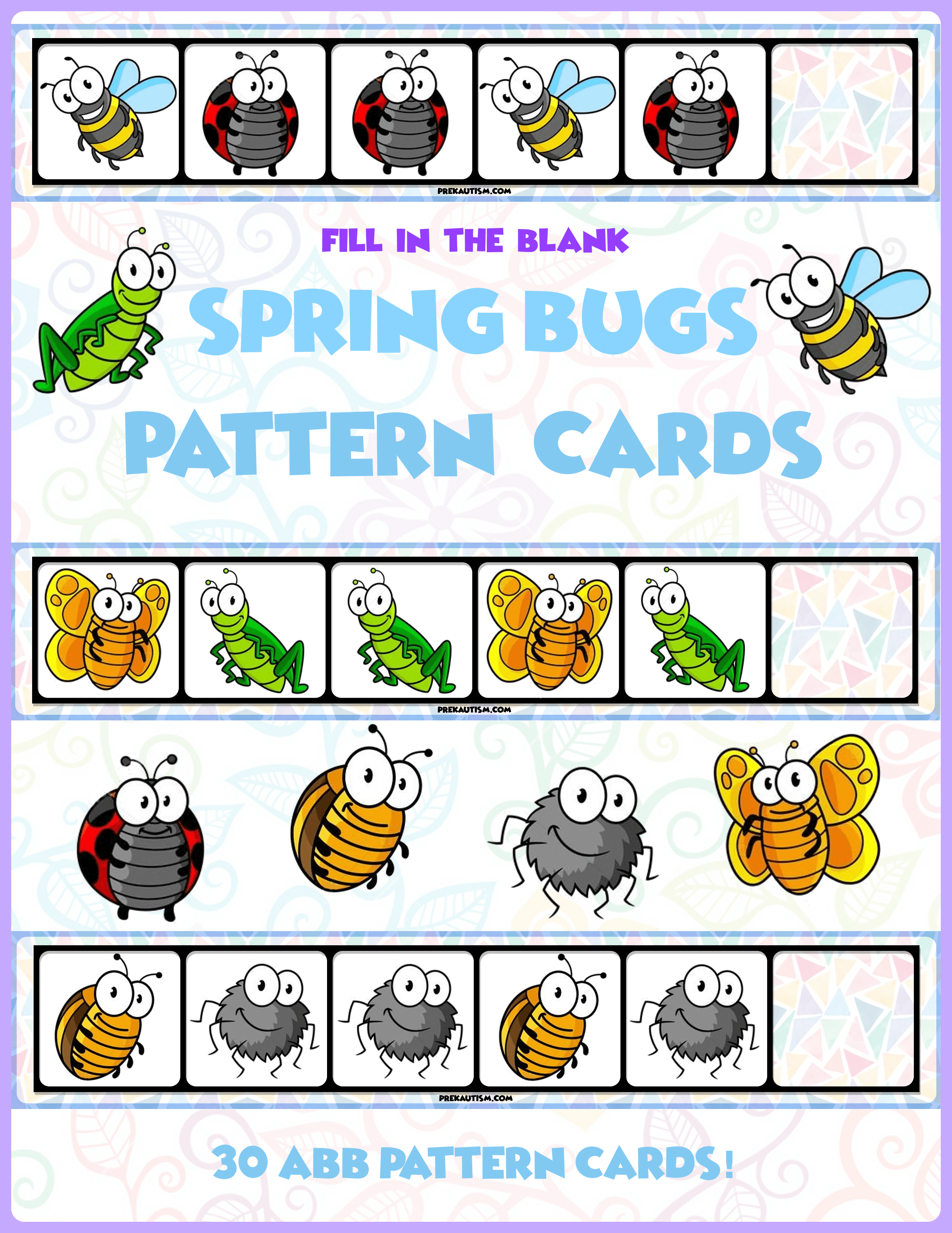Spring Bugs Abb Pattern Cards