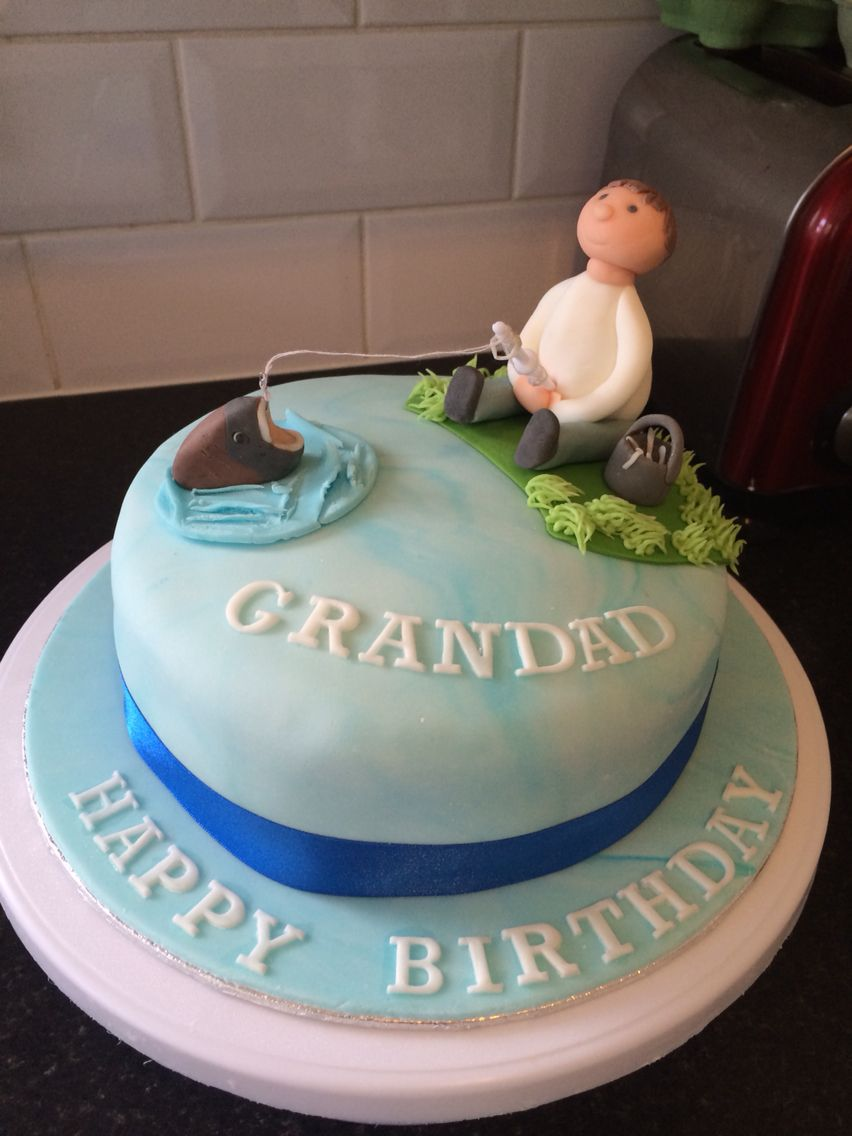 Got to love a fishing birthday cake, with sugarcraft man & fish (there's even a bucket of worms)