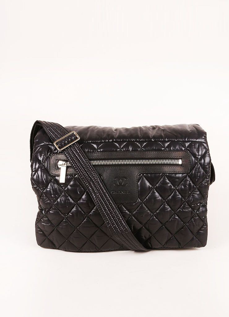 88a1d4cb2045 Black Chanel Padded and Quilted Nylon Messenger Bag