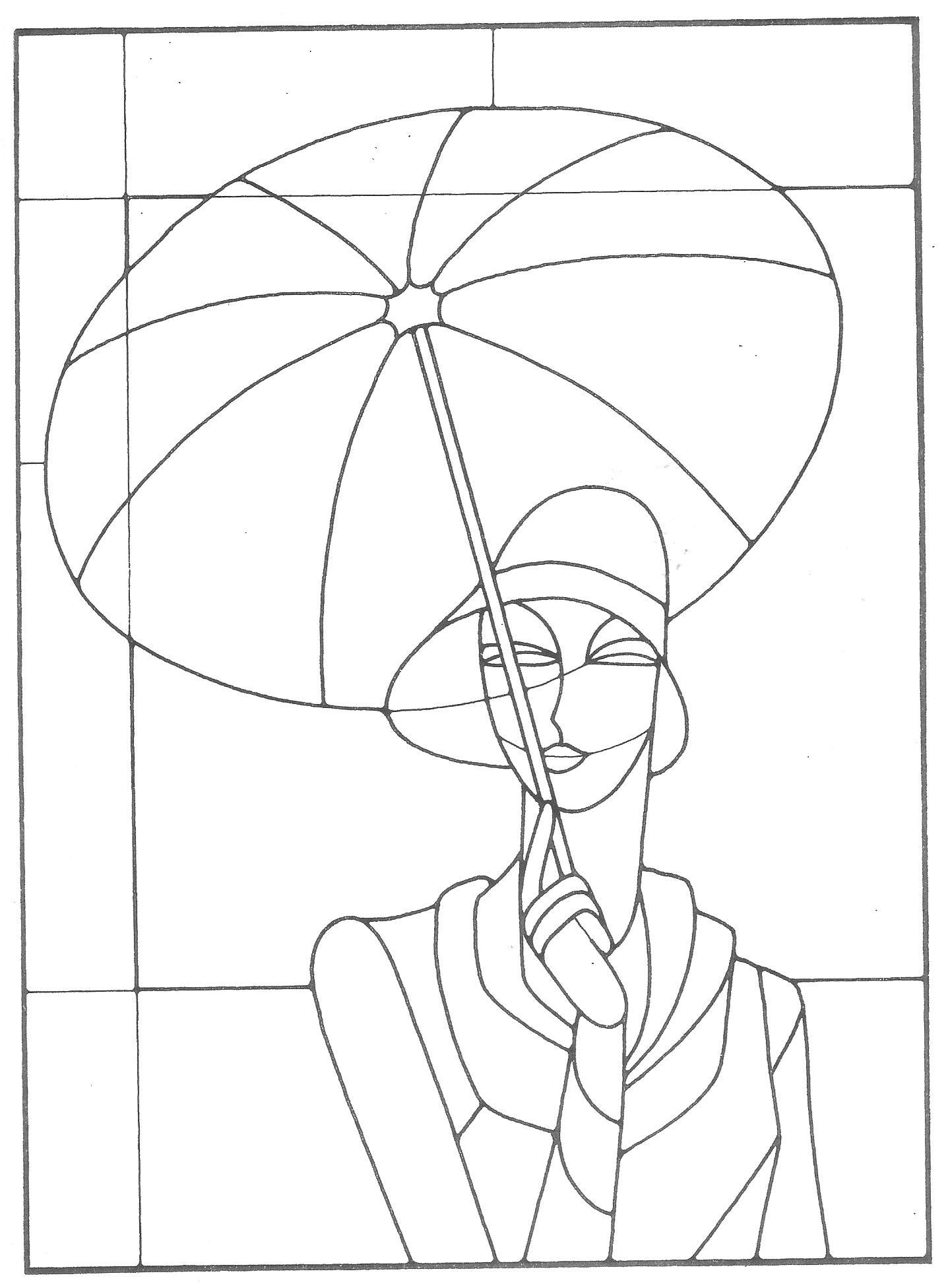 Art deco woman with umbrella pattern