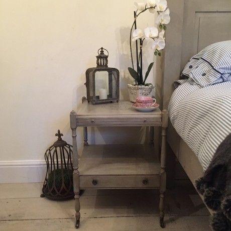 Pair Of Vintage Grey Hand Painted Regency Style Bedside Tables
