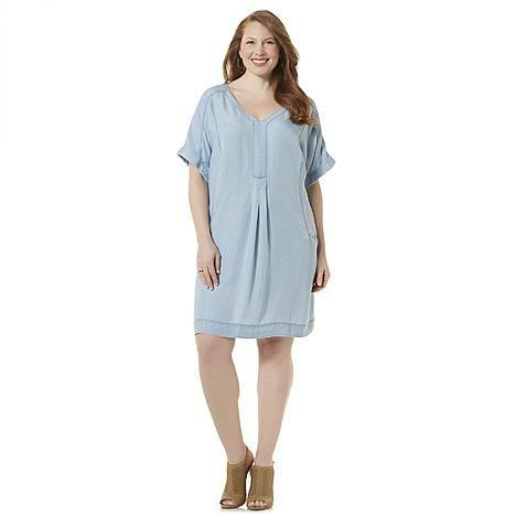 Simply Emma Women's Plus Chambray Shift Dress