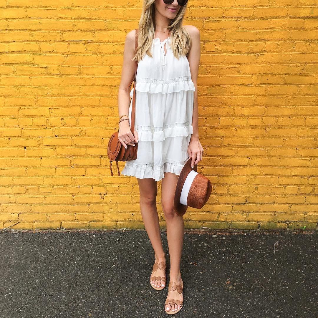 White Dress Tan Accessories White Dress Holiday Fashion Style [ 1080 x 1080 Pixel ]