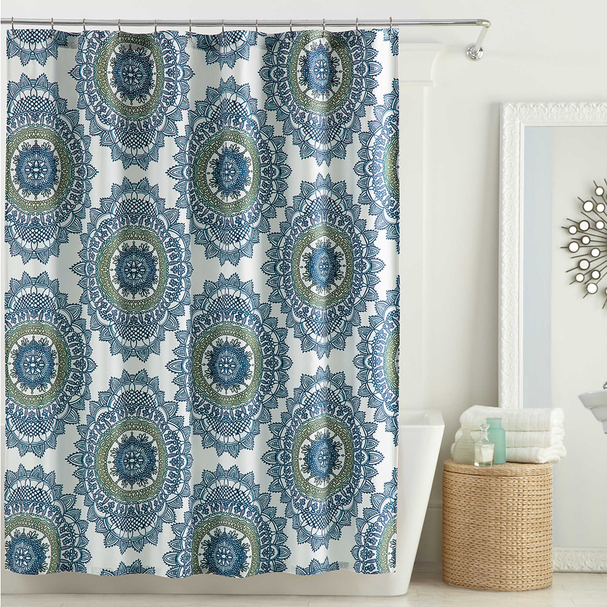 Guest Bath Ideas Anthology Bungalow 72 Inch X 96 Inch Shower Curtain In Teal Teal Shower Curtains Stall Shower Curtain 96 Inch Shower Curtain