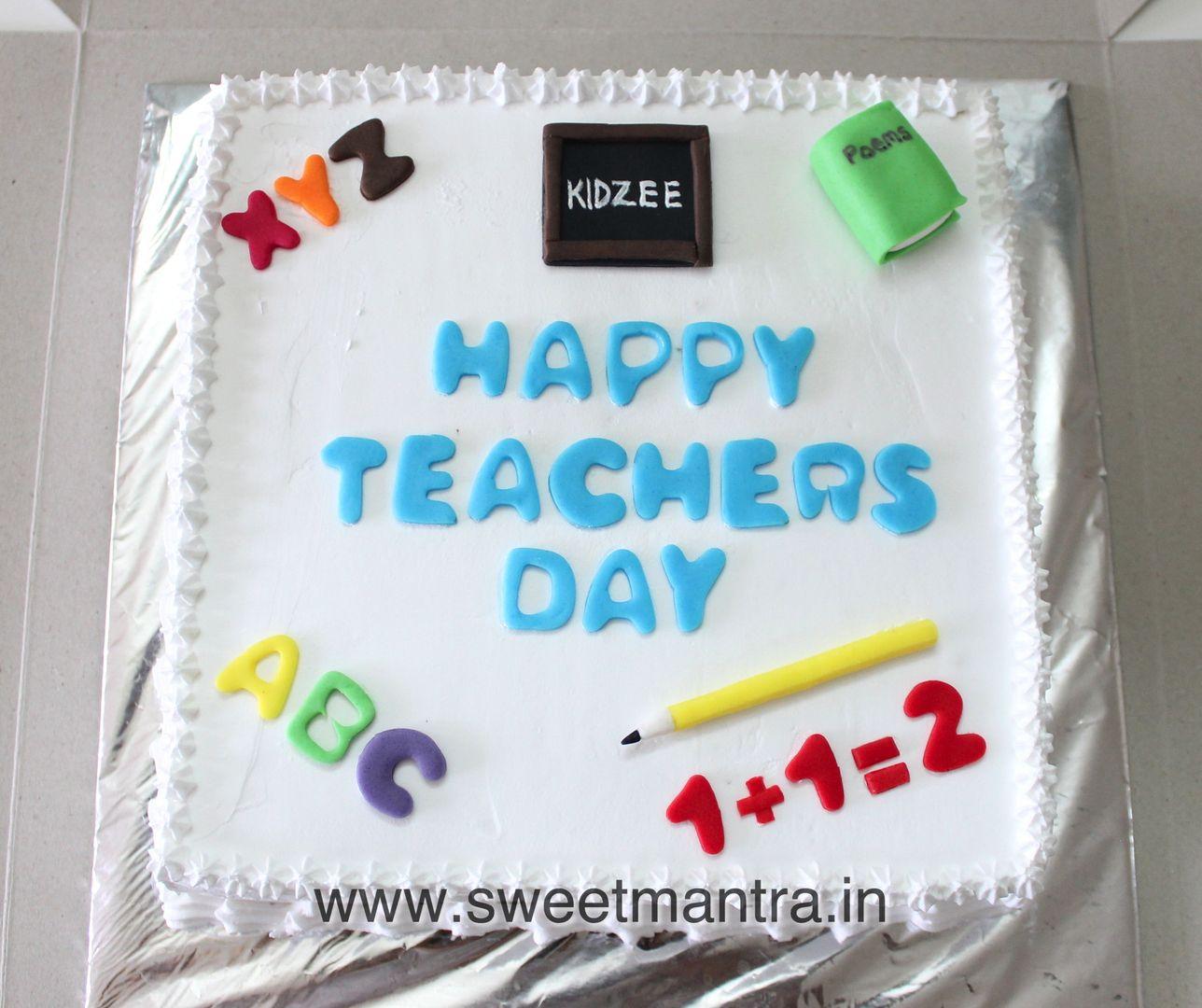 Order Send Eggless Fondant Custom Theme Cakes Delivery Pune Teacher Cakes Teachers Day Cake Teachers Day