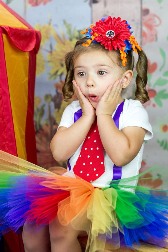 Rainbow clown tutu costume with hat. Polka dot by CassidyChristy