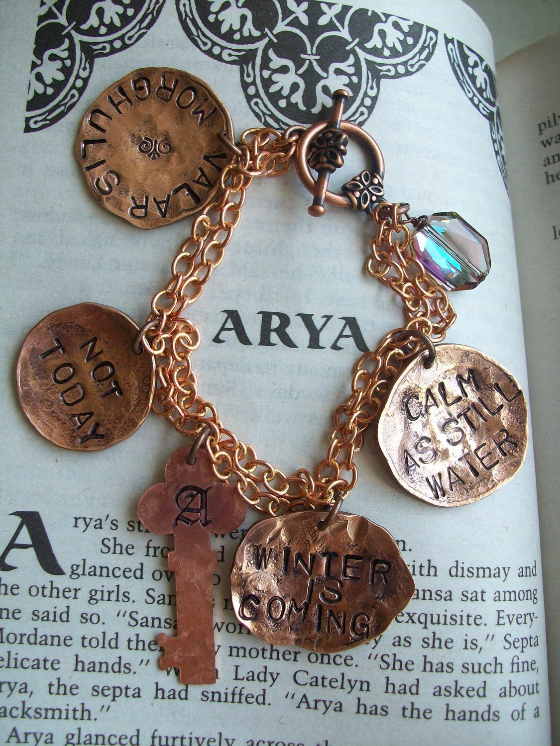 Charm bracelet hand hammered choose your words of fashion and