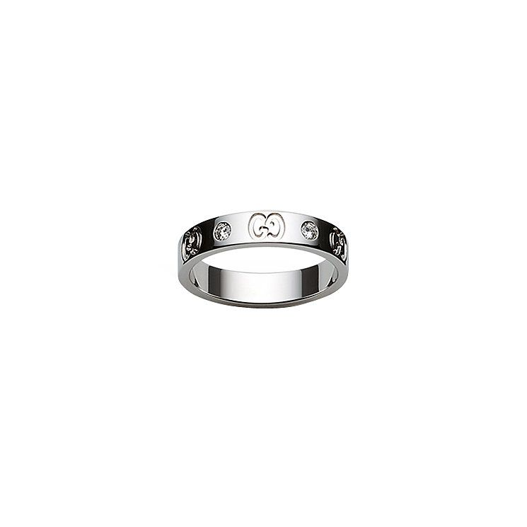 Gucci 18ct white gold & diamond slim GG ring size Q R Product