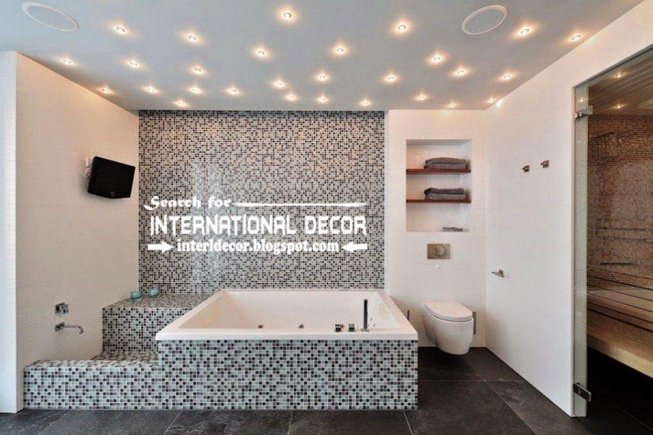 modern suspended ceiling spotlights for bathroom ceiling lighting ideas