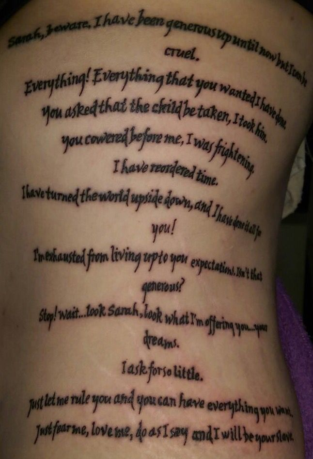 As Far As I Know Im The Only Person With Both Speeches Tattooed On Me Sarahbeware Labyrinth Jareth Sara Labyrinth Tattoo Labrynth Tattoo Labyrinth Movie