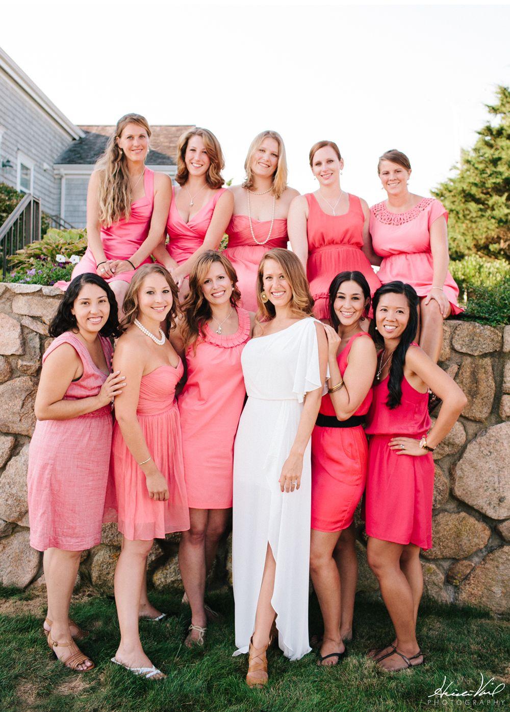 vestidos de dama de honor de coral con correas | The Future Mrs ...