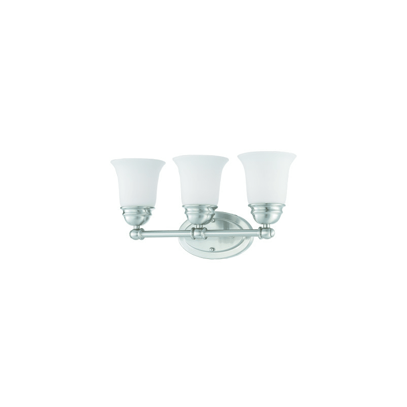 Photo of Thomas Lighting SL7143 3 Light Reversible Bath Bar with Etched Glass Bell Shades Brushed Nickel Indoor Lighting Bathroom Fixtures Vanity Light