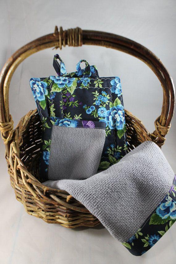 Grey Kitchen Towel Set With Navy Fl By Northernnotionsgifts