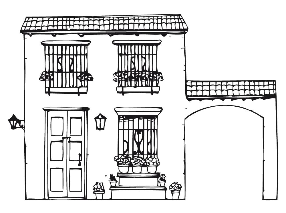 Casa Rustica Para Colorear Dibujo De Casa Fachada De Casas Mexicanas Fachada Colonial