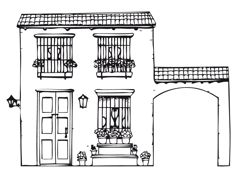 Resultado de imagen para dibujo fachadas coloniales for Fachadas de casas modernas para colorear