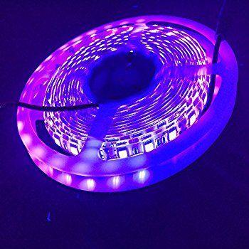 Uv Blacklight 5m 16ft 5050smd Waterproof Ultraviolet Uv Led Strip Light 395 405nm 300led Dc12v With Check Steri Led Strip Lighting Strip Lighting Deck Lights
