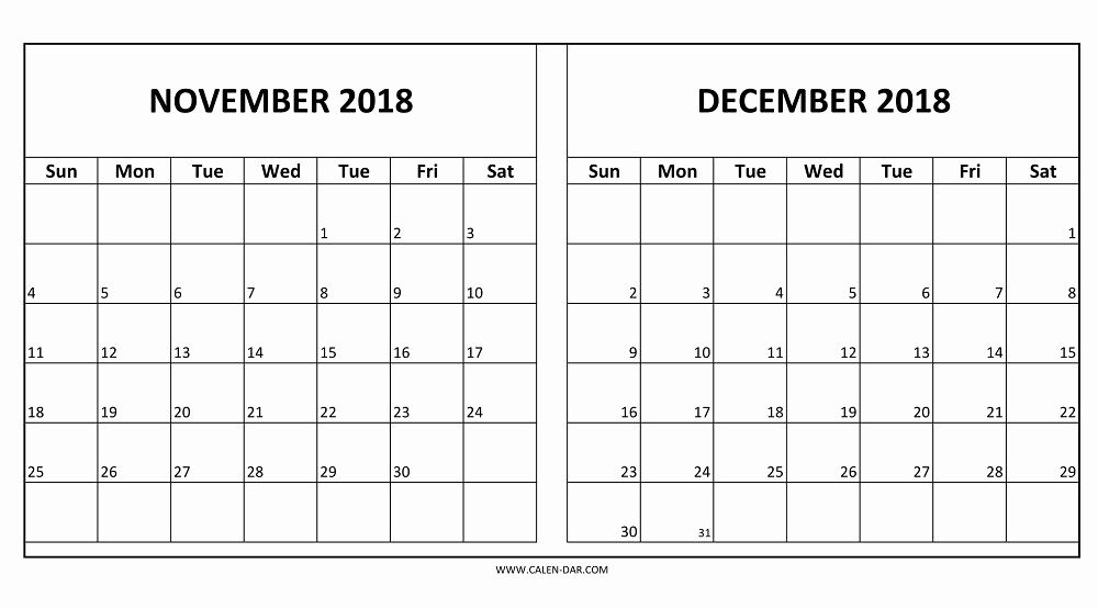 Calendar 2018 November December Printable Templates Free With
