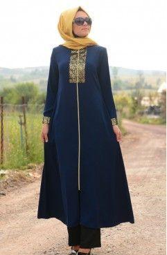 Sefamerve Ferace 7236 02 Lacivert Ferace Lacivert Sefamerve Hijab Trends Muslim Fashion Fashion